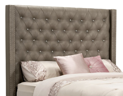 Diva Faux Leather Queen Headboard - Glam style Headboard in Grey Pine Solids and Faux Leather