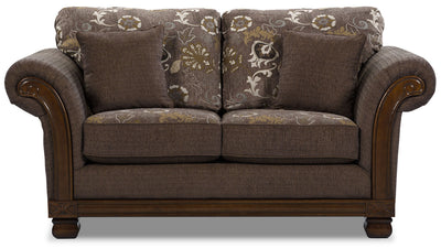 Hazel Chenille Loveseat - Quartz - Traditional style Loveseat in Quartz