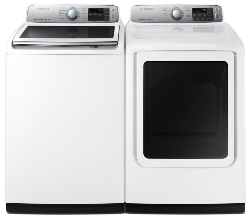 Samsung 5.5 Cu. Ft. Top-Load Washer and 7.4 Cu. Ft. Dryer – White|Laveuse à chargement par le haut de 4,5 pi³ et sécheuse de 7,4 pi³ de Samsung - blanches|SATL7350