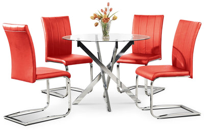 Tori 5-Piece Dining Package - Red - Modern style Dining Room Set in Red