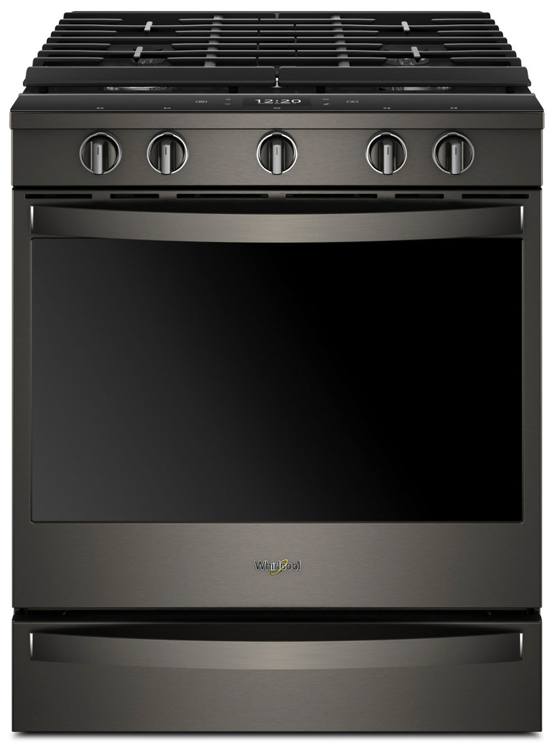 Whirlpool 5.8 Cu. Ft. Smart Slide-in Gas Range with EZ-2-Lift™ Hinged Cast-iron Grates - WEG750H0HV - Gas Range in Black Stainless Steel