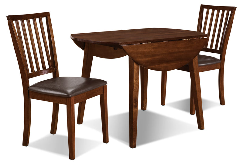 Adara 3-Piece Round Table Dining Package - Contemporary style Dining Room Set in Burnished Mango