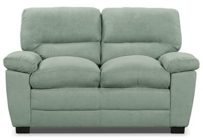 Peyton Microsuede Loveseat - Blue Mist - Contemporary style Loveseat in Blue Mist