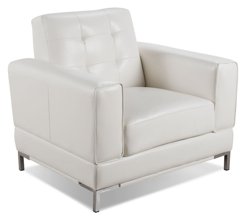 Myer Leather-Look Fabric Chair - Cream|Fauteuil Myer en tissu d'apparence cuir - crème