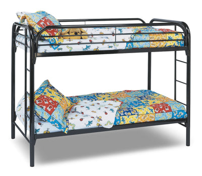 Monarch Twin Bunk Bed – Black - Contemporary style Bunk Bed in Black Metal