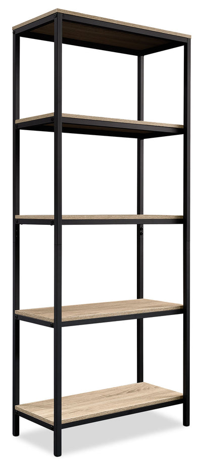 North Avenue Bookcase - Industrial style Bookcase in Black/Brown Metal and Wood