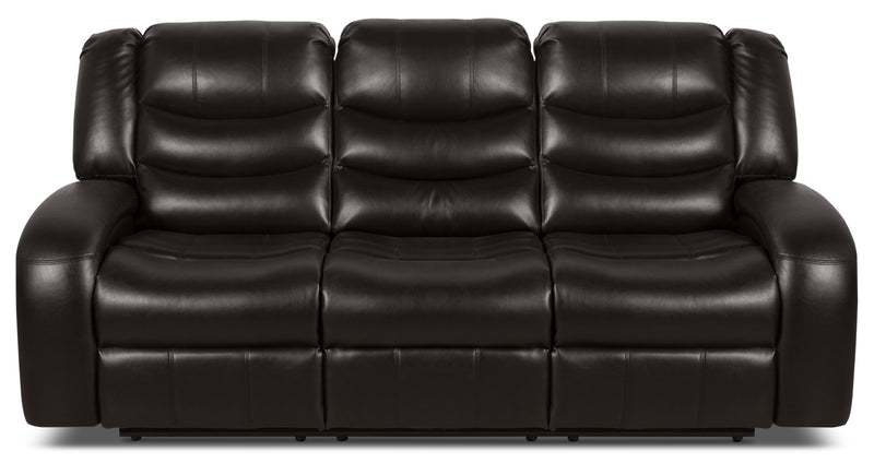 Angus Leather-Look Fabric Power Reclining Sofa – Dark Brown|Sofa à inclinaison électrique Angus en tissu apparence cuir – brun foncé