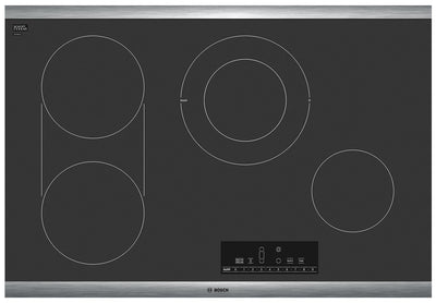 "Bosch 800 Series 30"" Electric Cooktop – NET8068SUC - Electric Cooktop in Black/Stainless Steel"