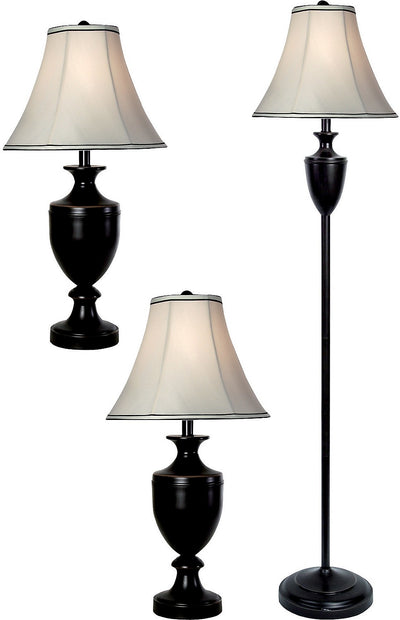 Bronze-Wood Finish 3-Piece Floor and Two Table Lamps Set|Ensemble 3 pièces, 1 lampe à pied et 2 lampes de table, au fini bronze|L8-1004
