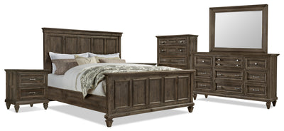 Calistoga 8-Piece King Bedroom Package - Weathered Charcoal|Ensemble de chambre à coucher Calistoga 8 pièces avec très grand lit - anthracite vieilli|CALIGKP8
