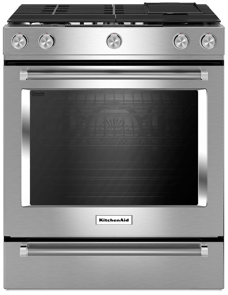 "KitchenAid 30"" Gas Convection Range with Baking Drawer - KSGB900ESS - Gas Range in Stainless Steel"