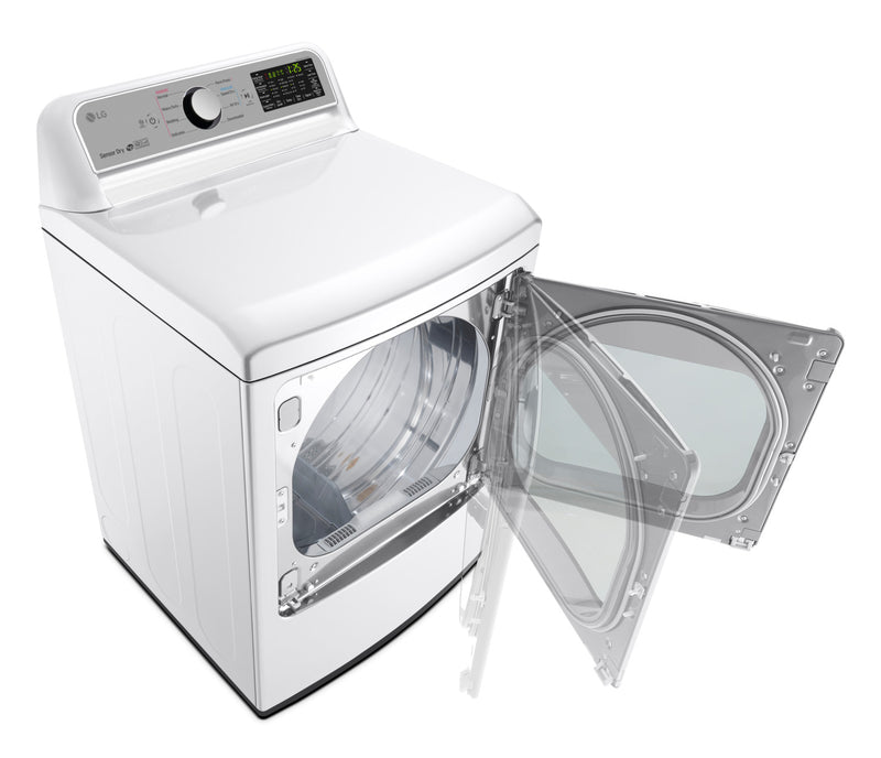 LG 7.3 Cu. Ft. Electric Dryer with TurboSteam™ – DLEX7200W|Sécheuse électrique LG de 7,3 pi³ avec technologie TurboSteamMC - DLEX7200W