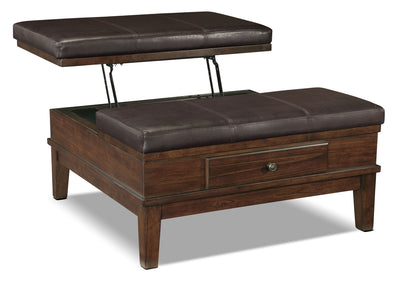 Gately Ottoman Coffee Table with Lift-Top - Rustic style Coffee Table in Dark Brown Hardwood Solids