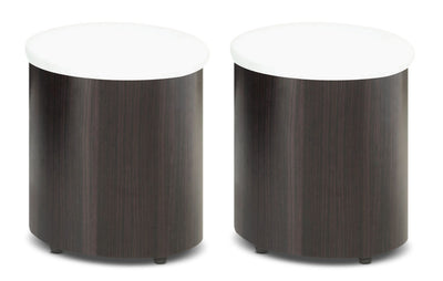 Seradala Ottomans – Set of 2 - Modern style Ottoman in Cappuccino Metal and Wood