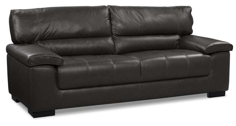 Chateau Dax Furniture Reviews: Chateau D'Ax 100% Genuine Leather Sofa - Charcoal