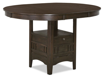 Desi Counter-Height Dining Table – Brown - Contemporary style Dining Table in Grey Brown Rubberwood Solids and Oak Veneers