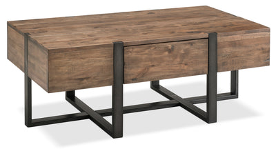 Manchester Coffee Table - Industrial style Coffee Table in Rustic Brown Wood and Steel