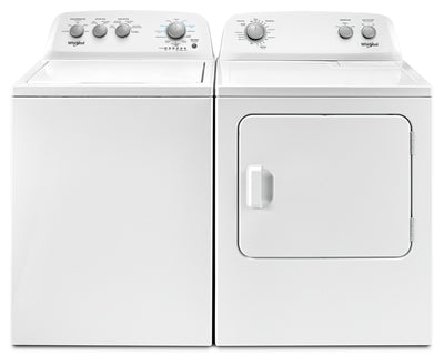 Whirlpool 4.4 Cu. Ft. I.E.C. Top-Load Washer and 7.0 Cu. Ft. Dryer – White - Laundry Set in White