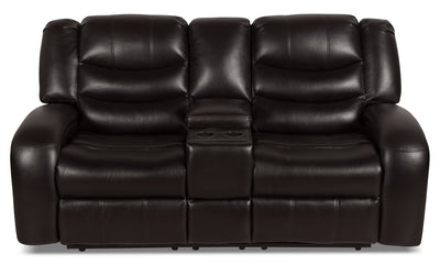 Angus Leather-Look Fabric Power Reclining Loveseat – Dark Brown - Contemporary style Loveseat in Dark Brown