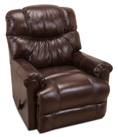 4524 Genuine Leather Rocker Reclining Chair – Java - Traditional style Chair in Dark Brown
