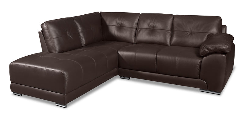 Rylee 2-Piece Genuine Leather Left-Facing Sectional - Brown|Sofa sectionnel de gauche Rylee 2 pièces en cuir véritable - brun