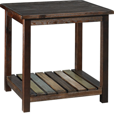 Mira End Table - Rustic style End Table in Merlot
