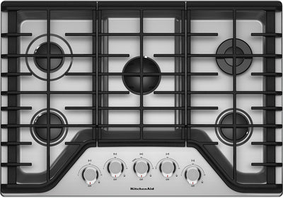"KitchenAid 30"" 5-Burner Gas Cooktop – KCGS350ESS - Gas Cooktop in Stainless Steel"