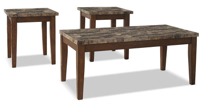 Theo 3-Piece Coffee and Two End Tables Package - Contemporary style Occasional Table Package in Light Brown Wood/Stone