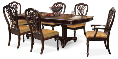 Newcastle 7-Piece Dining Package - Traditional style Dining Room Set in Brown Oak
