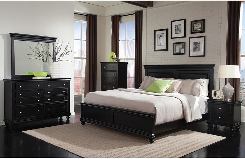 Bridgeport 5-Piece Queen Bedroom Set – Black|Ensemble de chambre à coucher Bridgeport 5 pièces avec grand lit - noir