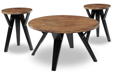 Ingel 3-Piece Coffee and Two End Tables Package - Retro style Occasional Table Package in Black/Brown Wood