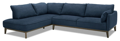 Gena 2-Piece Linen-Look Fabric Left-Facing Sectional - Midnight - Modern, Retro style Sectional in Dark Blue