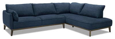 Gena 2-Piece Linen-Look Fabric Right-Facing Sectional - Midnight - Modern, Retro style Sectional in Dark Blue