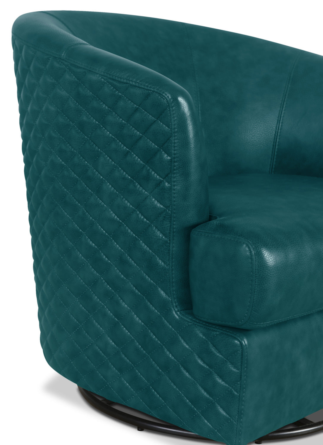 Leola Genuine Leather Accent Swivel Chair Teal The Brick