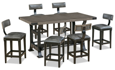 Ironworks 7-Piece Counter-Height Dining Package - Industrial style Dining Room Set in Grey Rubberwood Solids and Metal
