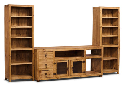 "Santa Fe Rusticos 3-Piece Solid Pine Entertainment Centre with 63"" TV Opening - Rustic style Wall Unit in Pine Wood"