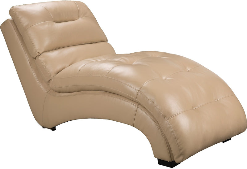Charlie Faux Leather Curved Chaise - Cream|Fauteuil long courbé Charlie en similicuir - crème