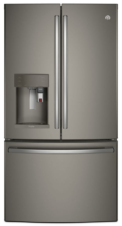 GE 22.1 Cu. Ft. French-Door Refrigerator with Keurig® Brewing System – PYE22PMKES - Refrigerator with Exterior Water/Ice Dispenser, Ice Maker in Slate
