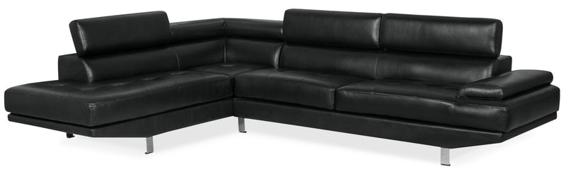 Ozzie 2-Piece Leather-Look Fabric Studio-Size Left-Facing Sectional – Black|Sofa sectionnel de gauche Ozzie 2 pièces format studio en tissu d'apparence cuir – noir