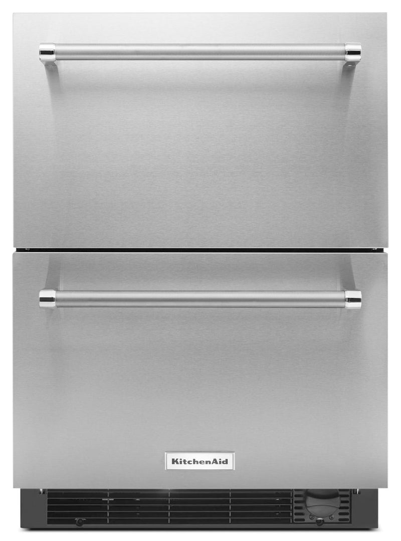 KitchenAid 4.7 Cu. Ft. Refrigerator and Freezer Drawer – Panel Ready KUDF204ESB - Refrigerator with Ice Maker in Stainless Steel