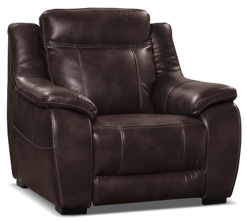 Novo Leather-Look Fabric Chair – Brown|Fauteuil Novo en tissu d'apparence cuir - brun
