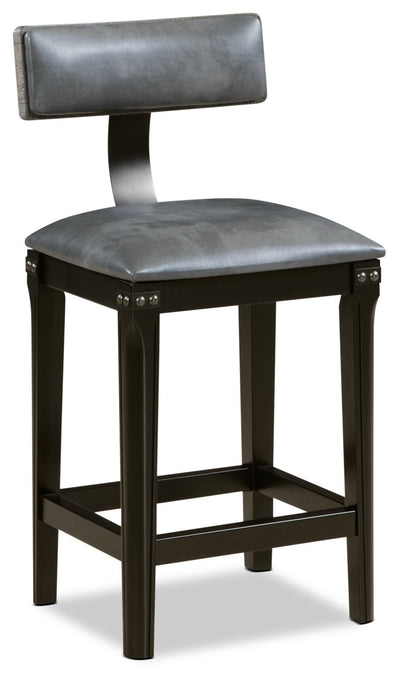 Ironworks Counter-Height Dining Stool - Industrial style Bar Stool in Grey Rubberwood Solids and Metal