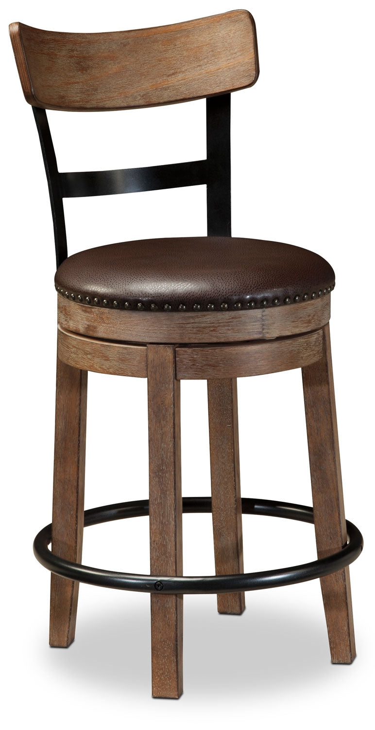 "Pinnadel 24"" Bar Stool - Rustic style Bar Stool in Light Brown Wood and Faux Leather"