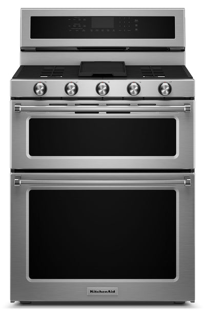 KitchenAid 6.0 Cu. Ft. Dual-Fuel Double-Oven Range - Stainless Steel|Cuisinière hybride KitchenAid de 6,0 pi³ à double four - acier inoxydable|KFDD500S