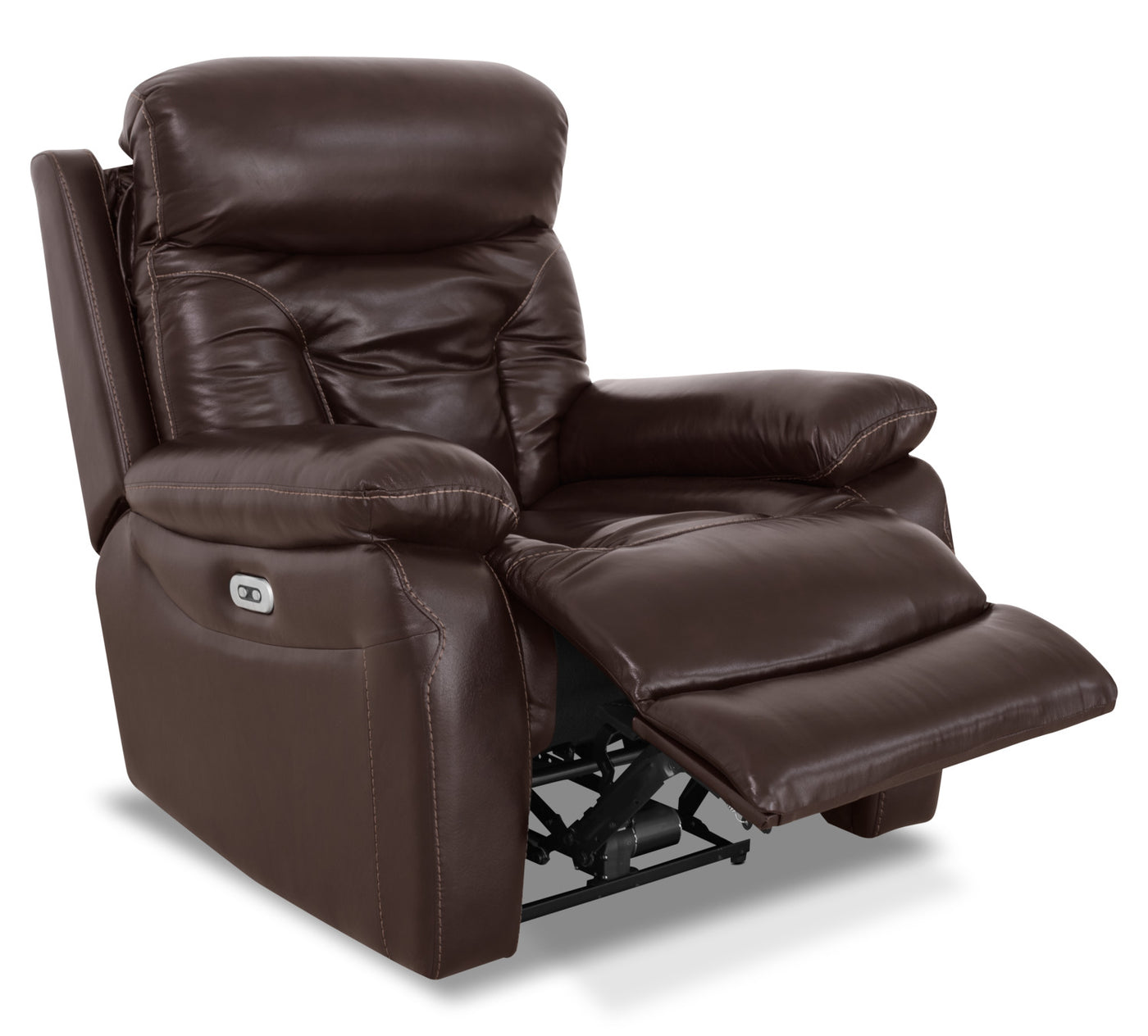 Hayes Genuine Leather Power Reclining Chair Brown