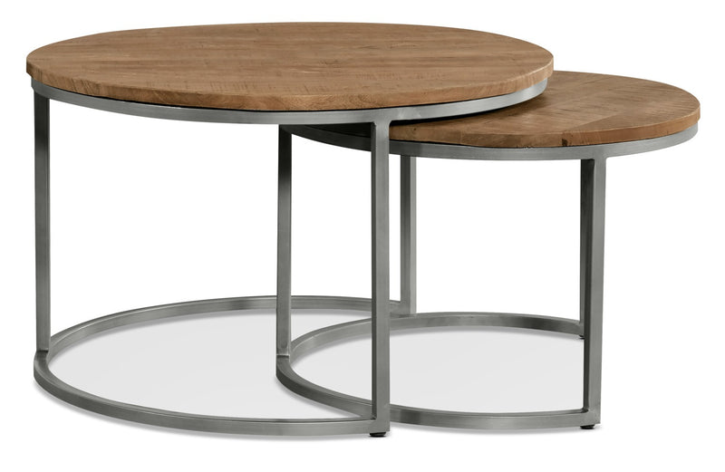 Veranasi Nesting Coffee Tables - Industrial style Coffee Table in Brown Metal and Wood