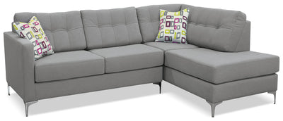 Ivy Fabric Right-Facing Sectional with Sofa Bed – Grey - Modern style Sectional in Grey