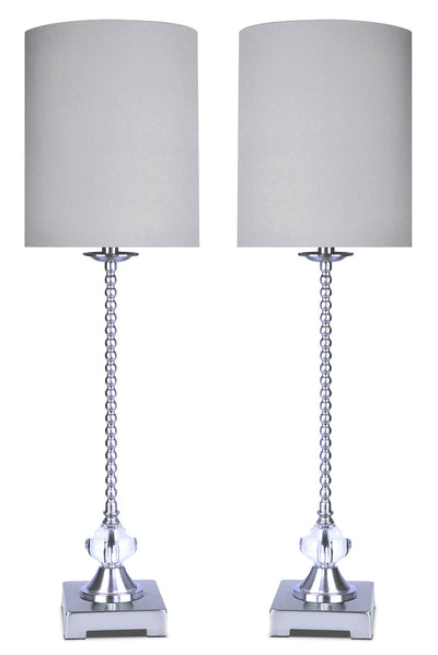 Polished Nickel with Crystal 2-Piece Table Lamp Set|Ensemble 2 lampes de table en nickel poli et orné de cristaux|SB9021PK