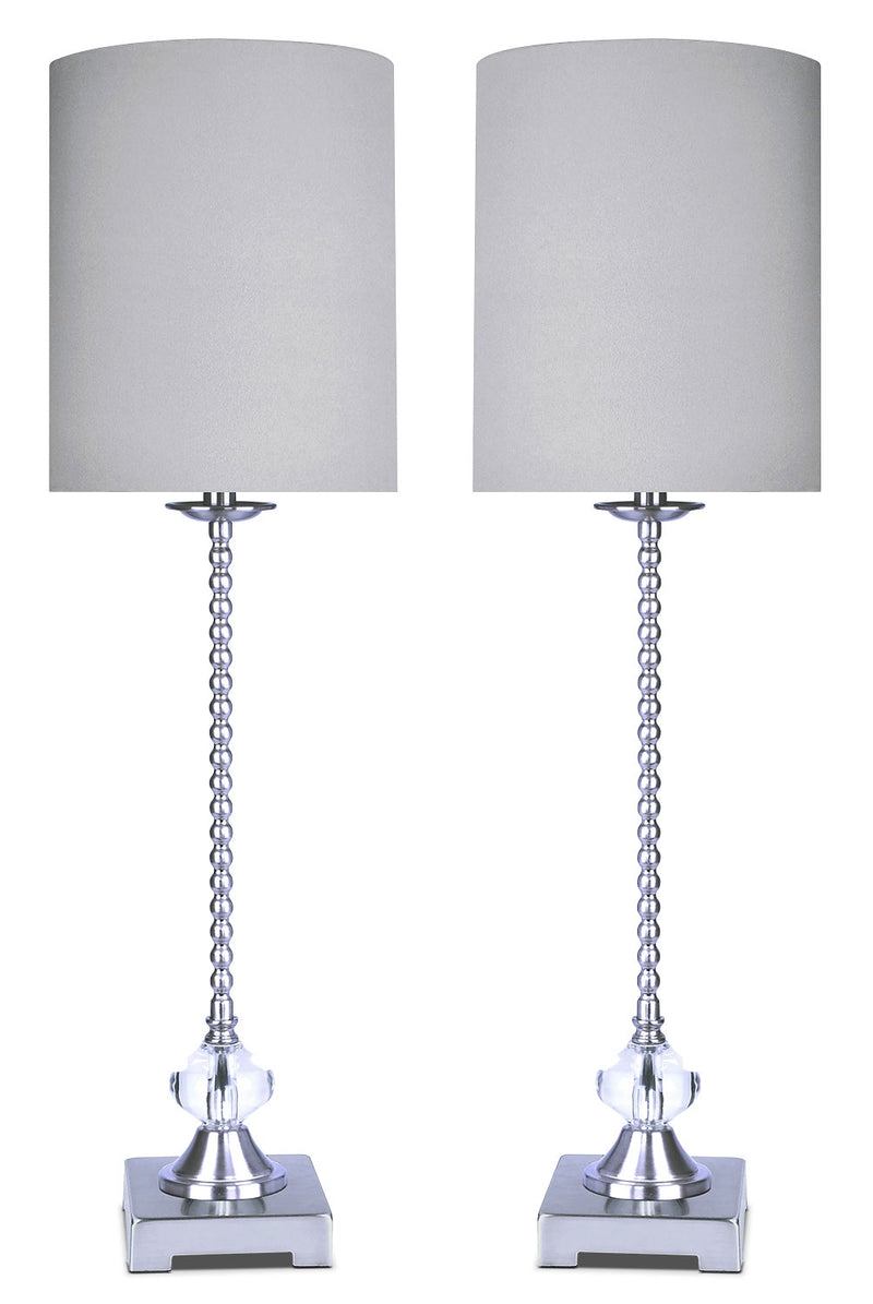 Polished Nickel with Crystal 2-Piece Table Lamp Set|Ensemble 2 lampes de table en nickel poli et orné de cristaux