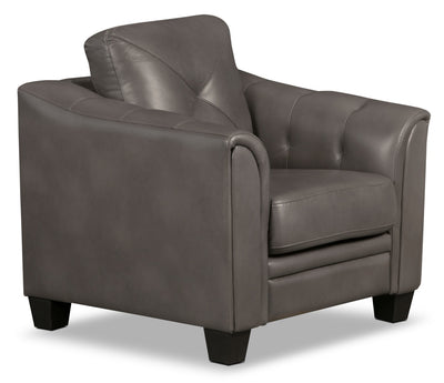 Andi Leather-Look Fabric Chair – Grey|Fauteuil Andi en tissu d'apparence cuir - gris|ANDIGYCH